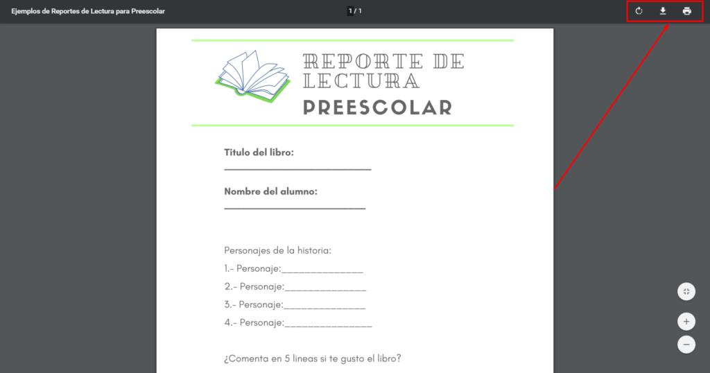 Imagen; Ejemplos de Reportes de Lectura para Preescolar