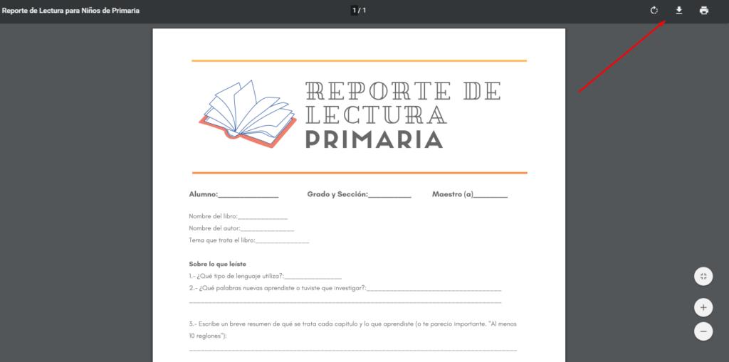 Imagen; Reporte de Lectura para Niños de Primaria